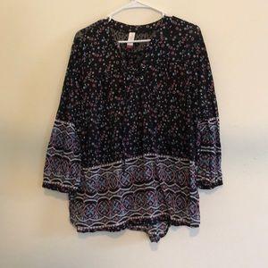 Floral lace up blouse
